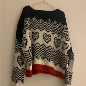 Slightly Cropped Heart Knit Sweater